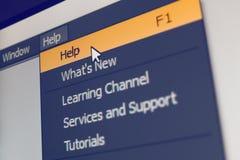 Elemento del menú del software con comando de la ayuda f1 Foto de archivo