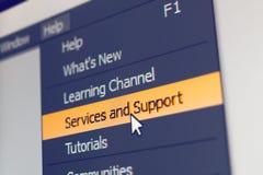 Elemento del menú del software con comando de la ayuda y del servicio Fotografía de archivo
