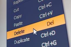 Elemento del menú del software con comando de la cancelación Imagenes de archivo
