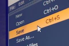 Elemento del menú del software con comando de la reserva Imagen de archivo