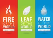 Elemento del mundo, muestra del símbolo del icono del agua de la hoja del fuego creativo Foto de archivo libre de regalías