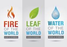 Elemento del mundo, muestra del símbolo del icono del agua de la hoja del fuego creativo Fotos de archivo libres de regalías