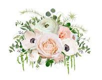 Elemento del objeto del diseño del vector del ramo de la flor Jardín rosado R del melocotón ilustración del vector