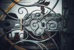 Elemento del ornamento de la puerta bloqueada del metal Foto de archivo