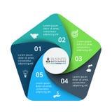 Elemento del pentágono del vector para infographic Concepto del negocio con 5 Imágenes de archivo libres de regalías