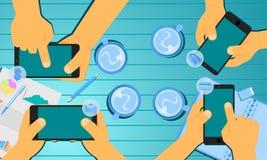 Elemento del smartphone de la tenencia de la mano al banco de crédito del dinero que hace compras que comprueba el correo electró libre illustration