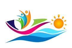 Elemento del vector del icono del logotipo de la unión del trabajo del equipo de la navegación del barco de la nave del sol de la ilustración del vector