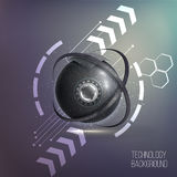 elemento del wireframe de la esfera 3D con las luces que brillan intensamente Imagenes de archivo