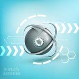 elemento del wireframe de la esfera 3D con las luces que brillan intensamente Elemento de HUD Fotografía de archivo