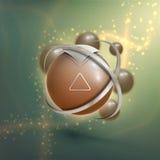 elemento del wireframe della sfera 3D Progettazione astratta della molecola Struttura dell'atomo Fotografie Stock