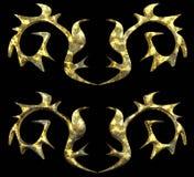 Elemento dell'ornamento dell'oro di lerciume in due variazioni Fotografie Stock Libere da Diritti