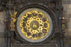 Elemento dell'orologio antico a Praga Fotografia Stock