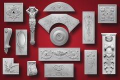 Elemento della decorazione fatto di gesso bianco Fotografia Stock