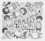 Elemento della famiglia di Doodle Fotografia Stock