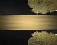 Elemento della targhetta dell'oro per progettazione Mascherina per il disegno copi lo spazio per l'opuscolo dell'annuncio o l'inv Fotografia Stock Libera da Diritti