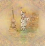 Elemento di disegno di viaggio con differenti monumenti Immagini Stock Libere da Diritti