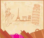 Elemento di disegno di viaggio con differenti monumenti Immagine Stock