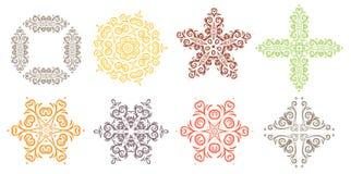 Elemento di disegno di vettore Decorazione rotonda dell'ornamento Linea modello di fiore Motivo floreale stilizzato Medaglione co fotografie stock