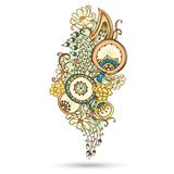 Elemento di Henna Paisley Mehndi Abstract Vector. illustrazione vettoriale