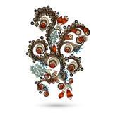 Elemento di Henna Paisley Mehndi Doodles Design. Fotografie Stock