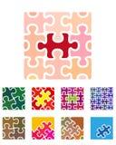 Elemento di logo del puzzle del quadrato di vettore di progettazione. Immagine Stock