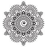 Elemento di mehndi del hennè per la mandala di tatoo nello stile indiano Fotografia Stock