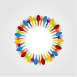 Elemento di progettazione con i cucchiai e la forchetta Fotografia Stock Libera da Diritti