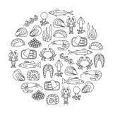 Elemento di progettazione dei frutti di mare immagini stock