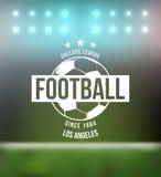 Elemento di progettazione del distintivo di tipografia di calcio di calcio Immagini Stock Libere da Diritti