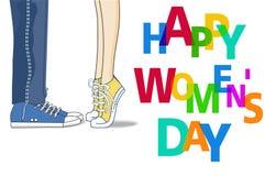 Elemento di progettazione del giorno delle donne felici, fondo del giorno delle donne illustrazione di stock