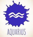 Elemento di progettazione del segno dello zodiaco di acquario Fotografia Stock Libera da Diritti