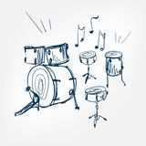 Elemento di progettazione isolato illustrazione di vettore di schizzo dell'insieme del tamburo royalty illustrazione gratis