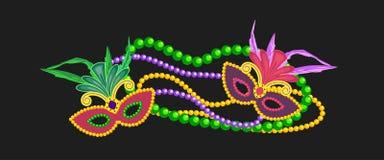 Elemento di progettazione di Mardi Gras, simboli variopinti royalty illustrazione gratis