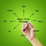 Elemento di scrittura della mano delle donne degli allergeni importanti dell'alimento (latte, uova, Fotografia Stock Libera da Diritti
