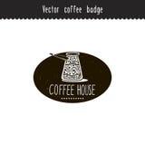 Elemento dibujado mano del diseño de marca del café del vector Cezve del café Bosquejos del café aislados en blanco Imagen de archivo