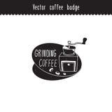 Elemento dibujado mano del diseño de marca del café del vector Etiqueta de pulido del café Bosquejos del café aislados en blanco Foto de archivo libre de regalías