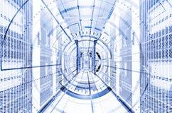 Elemento digitale del giro tecnologico astratto del fondo Carta da parati interattiva del Cyberspace futuristico dell'hardware Pr fotografie stock