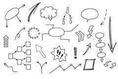 Elemento disegnato a mano di scarabocchio: grafico, grafico, diagramma Guadagni di analisi dei dati di affari e di finanza di con Fotografie Stock Libere da Diritti