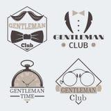 Elemento do bigode do projeto do crachá da ilustração do vetor do cavalheiro do relógio de bolso do estilo do vintage Foto de Stock Royalty Free