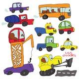 Elemento do carro da tração da mão da criança. Garatuja colorida engraçada dos desenhos animados Foto de Stock Royalty Free