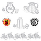 Elemento do conceito da embalagem para o suco ou a bebida de maçã Projeto do vetor com ilustração Imagens de Stock Royalty Free