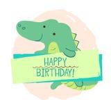 Elemento do crocodilo do cartão Imagens de Stock