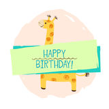 Elemento do girafa do cartão Imagem de Stock