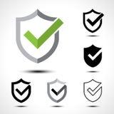 Elemento do molde do projeto do ícone do logotipo da marca de verificação do protetor