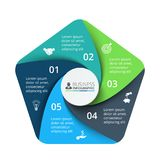 Elemento do pentagon do vetor para infographic Conceito do negócio com 5 Imagens de Stock Royalty Free