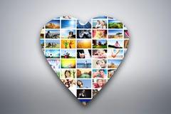 Elemento do projeto do coração feito das imagens dos povos, dos animais e dos lugares ilustração royalty free