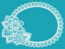 Elemento do projeto do vetor do frame do Doily do laço da flor Foto de Stock Royalty Free