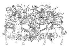Elemento do zentangle do desenho da mão ilustração royalty free