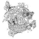 Elemento do zentangle do desenho da mão Rebecca 36 Mandala da flor ilustração stock