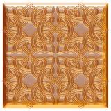 Elemento dorato classico della decorazione su fondo bianco isolato Fotografia Stock